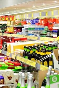 Interior of Aldi supermarket in London