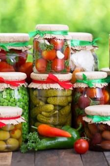 Preserved vegetables in the jars